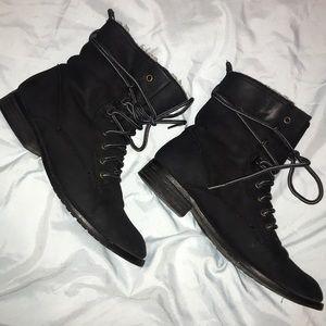 Faux Suede Lace Up Boots